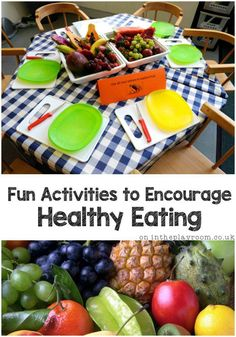 Fun activities to encourage healthy eating. This post shares a few simple games to play with fruit and vegetables and ways to explore healthy food with young children