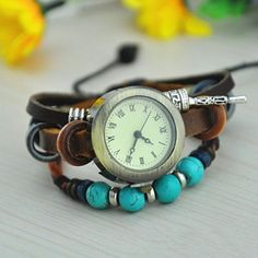 Amazon.com: MagicPieces Handmade Leather Belt Friendship Bracelet Watch for Women -Turquoise Beads: Jewelry
