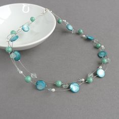 Multi Strand Aqua Necklace - Mint Floating Pearl Necklaces - Turquoise and Ivory Bridesmaid Jewelry - Robins Egg Blue Wedding - Bridal Party