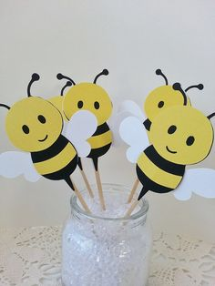 Bumble Bee Party Plastic Mason Jars Paper Straws Favor Bags Candy Nut Cups Baby Shower Themes Chevron Baking Cup Insects On Ets
