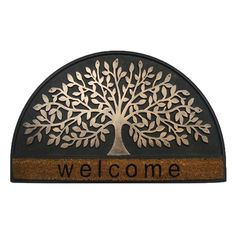 The raised tree of life pattern on the First Impression Shredding Leaf Designer Indoor Door Mat features a copper finish that makes it pop against the. Indoor Door Mats, Indoor Doors, Outdoor Floor Mats, Shops, Funny Doormats, Round Door, Grill Design, Welcome Mats, Tree Designs