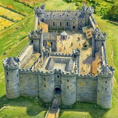 Unspecified Medieval Castle by Steve Noon Medieval World, Medieval Castle, Medieval Fantasy, Ancient Buildings, Ancient Architecture, Chateau Moyen Age, Castle Layout, Chateau Medieval, Castle House