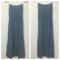"Tube Top Maxi Dress Beautiful neutral maxi dress! Has sinching at top and at your waistline to create a great shape. Flows away from the body from your natural waist down. Blue and white stripe pattern. New without tags! 47"" long. Boutique store find! Threads for Thought Dresses Maxi"