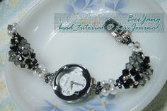 White Pearl and Black Crystal Watchband   AllFreeJewelryMaking.com
