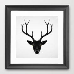 The Black Deer Framed Art Print