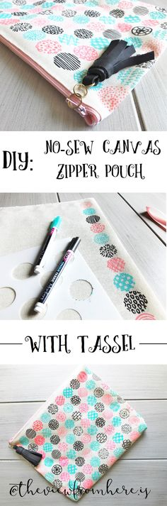 DIY: No-Sew Canvas Zipper Pouch with Tassel