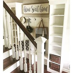 LOVE how perfectly our Home Sweet Home sign works in Laura's @laurawgodfrey perfect entryway! Link in profile to purchase! #salvagedchicmarket