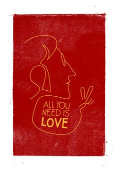 """All You Need Is Love"" art print featuring John Lennon profile!"