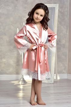 Blush Pink flower girl robe Mother daughter gift Junior bridesmaid robe Satin lace robe for girl Family photoshoot Flower girl gown Gowns For Girls, Girls Dresses, Blush Rosa, Blush Pink, Flower Girl Robes, Kimono Dressing Gown, Lace Bridal Robe, Wedding Night Lingerie, Young Girl Fashion
