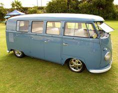 46cf294a03 Beautiful dove blue standard VW bus w  safari windows   polished Porsche 5  spoke wheels