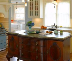 Antique French Dresser repurposed as kitchen island - Click pin for 20+ #kitchen #ideas