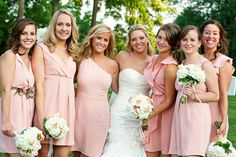Different pink bridesmaid dresses is exactly what I had in mind