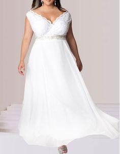 15310568d2e 2015 Style V-Neck Floor Length Chiffon Plus Size Wedding Dresses Wholesale  Wedding Dresses