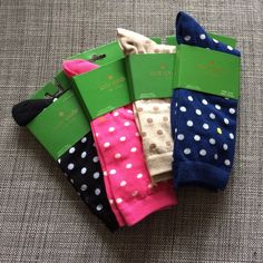 Kate Spade Spot Print Trouser Sock Bundle- 4 Pairs From winter 2015 season - full price online. 4 pairs - black, pumice, hyacinth, vivid snapdragon. From web: You'll be seeing spots while wearing these charming trouser socks, brought to you from Kate Spade New York. Made from a plush cotton blend, a two-tone spot print allover is showcased on a contrast background for heightened style contrast. Cotton/nylon/polyester/spandex. Style 220010. One size fits shoe size 6-10.5. Last pic for length…