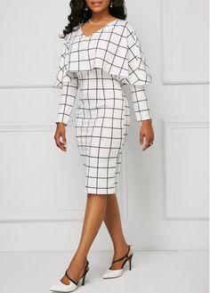 587ece83623 Grid Print White V Neck Cape Sheath Dress