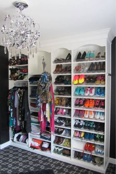 A colorful, organized shoe collection can double as your closet decor.  Learn more here: https://www.closetfactory.com/custom-closets/ Dressing Table Room, Shoe Organizer, Closet Organization, Organizers, Master Closet, Walk In Closet, Custom Closets, Closet Designs, Custom Cabinets