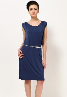 Navy blue coloured dress for women by United Colors of Benetton. Crafted from a cotton blend, this sleeveless dress features round neck, pleats on shoulder and a belt.