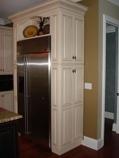 SIDE PANTRY: If you have walk-through areas in your kitchen, this could be a great idea for a small pantry, small dishes/glasses, or even small appliances. There are many possibilities with this idea.