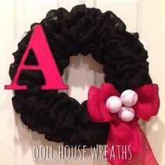 Baseball or softball burlap wreath