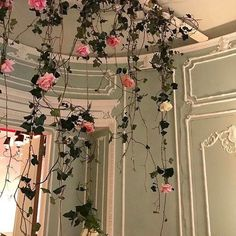 pink flowers hanging
