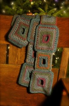 Geometrically interesting, and with great visual punch: Holey Squares Scarf by Lorilee Beltman.