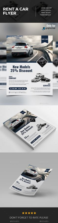 Rent a Car Flyer Template PSD #design Download: http://graphicriver.net/item/rent-a-car-flyer/14320304?ref=ksioks