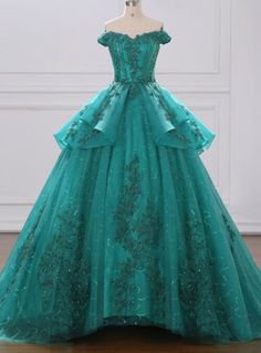 Green Ball Gown Tulle Lace Layered Off The Shoulder Quinceanera Dress Gala Dresses, Ball Gown Dresses, Event Dresses, Quinceanera Dresses, Holiday Dresses, Formal Dresses, Green Homecoming Dresses, Gowns Of Elegance, Beautiful Gowns