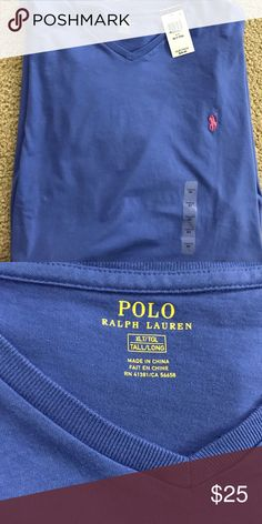 NWT      Polo Ralph Lauren v neck t shirt   XLT NWT polo Ralph Lauren v neck t shirt, blue with  pink polo logo size XLT. These shirts run big so if you normally wear 2XLT this should fit fine. Polo by Ralph Lauren Shirts Tees - Short Sleeve
