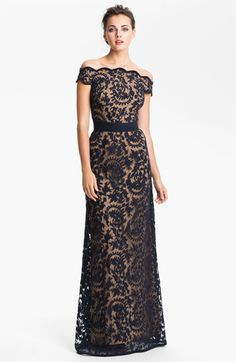 Tadashi Shoji Lace Overlay Off Shoulder Gown NAVY BLUE Size 12