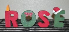 Band saw letters for personalized Christmas gift.