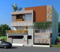 3D - exterior - whitespace interiors House Front Wall Design, Duplex House Design, Modern House Design, House Architecture Styles, Facade Architecture, Building Elevation, House Elevation, Modern Exterior, Exterior Design