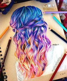 Disegno capelli arcobaleno