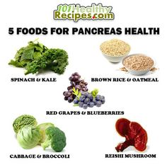 FOODS FOR PANCREATIC HEALTH 1. Spinach & Kale 2. Brown Rice & Oatmeal 3. Red Grapes & Blueberries 4. Cabbage & Broccoli 5. Reishi Mushroom