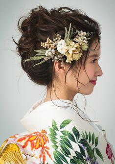 Bridal Hair Flowers, Flower Headpiece, Headpiece Wedding, Bridal Headpieces, Floral Crown Wedding, Japanese Hairstyle, Bride Hairstyles, Hair Accessories, Hair Styles