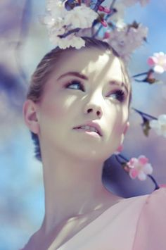 like a fairytale, stunning girl and a cherry blossom tree <3