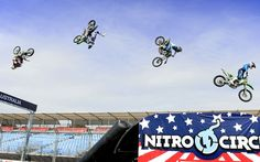 The Nitro Circus crew perform along the Formula 1 straight and pit lane in the lead-up to the Melbourne Grand Prix