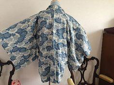 vintage kimono jacket - blue kiku flowers