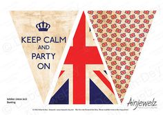Vintage Union Jack  Keep Calm Bunting Garland INSTANT DOWNLOAD PRINT-CUT-CREATE  want it customised? contact me #craftfest