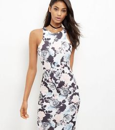 White Scuba Floral Print Bodycon Dress   New Look