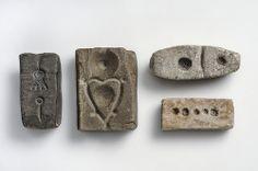 Casting moulds  Soapstone, sand stone, slate     Björkö, Adelsö, Uppland, Sweden.  SHM 5208