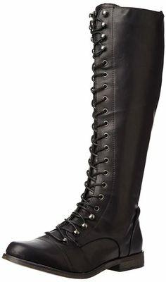 XOXO Women's Baker Boot,Black,6.5 M US