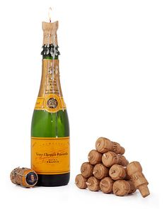 CHAMPAGNE CORK CANDLES - SET OF 12 | Champagne Cork Candles - Romantic Dinner, Party, Celebration Ambiance | UncommonGoods