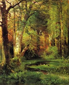 """Forest Scene - Thomas Moran ... Does this not scream """"fairies live here""""? ... fairy"""
