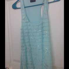 Tank Top Light baby blue with silver. Cute summer top. Tops Tank Tops