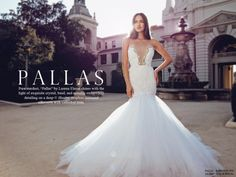 """Pure stardust, """"Pallas"""" by Lauren Elaine shines with the light of exquisite crystal, bead, and metallic embroidery detailing on a deep-V illusion strapless mermaid silhouette with cathedral train. SHOP """"PALLAS"""" here."""