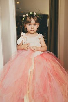 Coral Melon Blush Flower Girl tulle skirt by princessdoodlebeans