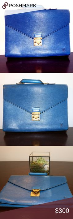 VINTAGE LOUIS VUITTON BRIEFCASE LOVE LOVE LOVE THIS VINTAGE PIECE! I PURCHASED IT AT A CONSIGNMENT SHOP IN BOSTON BUT NEVER USED IT. THE COLOR IS GORGEOUS. COMES WITH 2 KEYS TO LOCK THE CLASP. PLEASE SEE SECOND LISTING FOR ADDITIONAL PHOTOS. DEFINITELY SOME WEAR AND TEAR SINCE IT'S A VINTAGE PIECE. Louis Vuitton Bags Laptop Bags