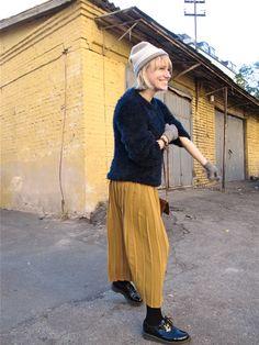 furry jumper, long skirt, patent lace ups