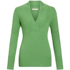 John Lewis Cross Over Ribbed V-Neck Jumper, Green ($48) ❤ liked on Polyvore featuring tops, sweaters, green, long sleeves, shirts, cashmere sweater, v-neck shirt, long sleeve jumper, long-sleeve crop tops and green cashmere sweater