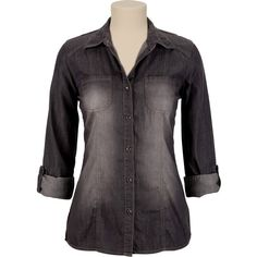 Black Wash Denim Shirt ($25) ❤ liked on Polyvore featuring tops, denim, shirts, black, black button up shirt, button up shirts, sleeve shirt, roll tab shirt and roll tab sleeve shirts